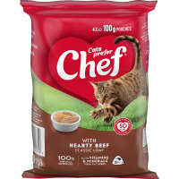 Chef Singles Cat Food Hearty Beef 100g pouch 4pk - buy online at countdown.co.nz