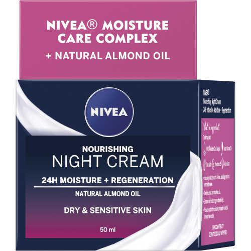 Nivea Daily Essentials Night Cream Rich Regenerating Dry/sens 50ml - buy online at countdown.co.nz