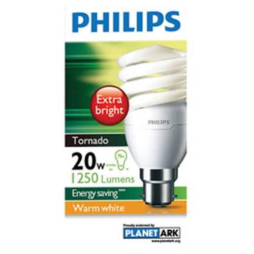 Philips Tornado Bayonet Light Bulb 20w Energy Saver Warm White 1pk - buy online at countdown.co.nz