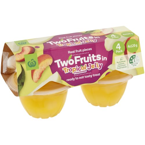 Countdown Fruit Snack 2 Fruits In Tropical Jelly 120g pottles 4pk - buy online at countdown.co.nz