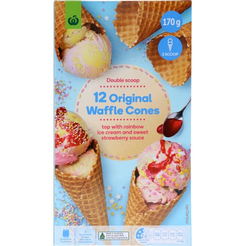 Countdown Cones Waffle Plain 170g 12pk - buy online at countdown.co.nz