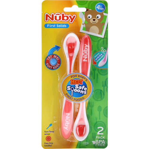 Nuby Baby Cutlery Hot Safe Spoons 2pk - buy online at countdown.co.nz