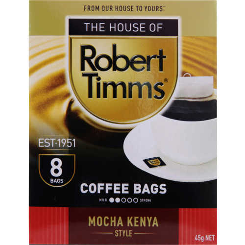 Robert Timms Coffee Bags Mocha Kenya 8pk - buy online at countdown.co.nz