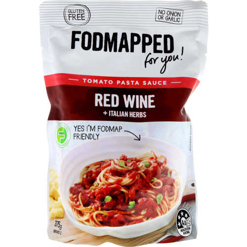 Fodmapped Pasta Sauce Red Wine Gluten Free pouch 375g - buy online at countdown.co.nz