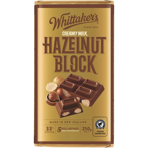 Whittakers Chocolate Block 33% Cocoa Hazelnut 250g - buy online at countdown.co.nz