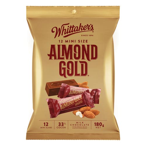 Whittakers Share Pack Individually Wrapped Almond Gold 180g bag 12pk - buy online at countdown.co.nz