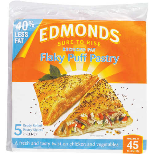 Edmonds Flaky Puff Pastry Reduced Fat 750g 5 sheets - buy online at countdown.co.nz