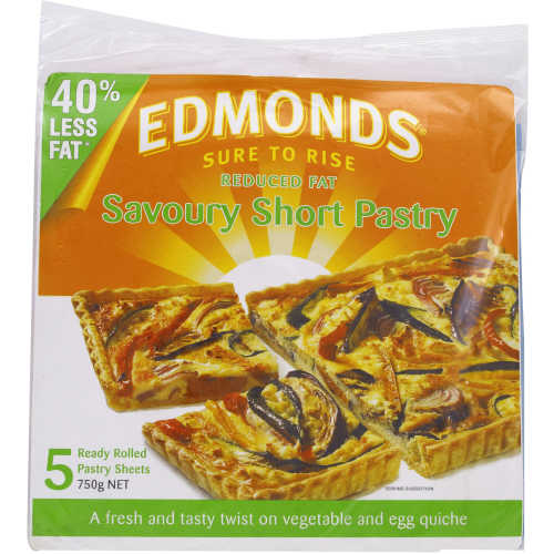 Edmonds Savoury Short Pastry Reduced Fat 750g 5 sheets - buy online at countdown.co.nz