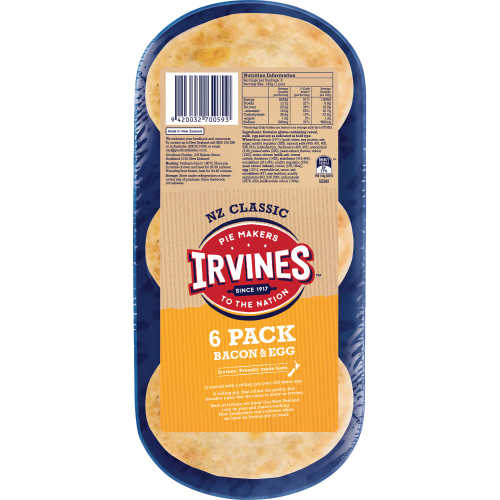 Irvines Chilled Pie 6pk Bacon & Egg  - buy online at countdown.co.nz