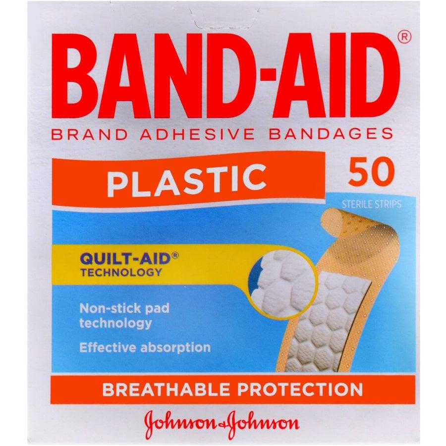 Band Aid Plastic Adhesive Strips, 50pk