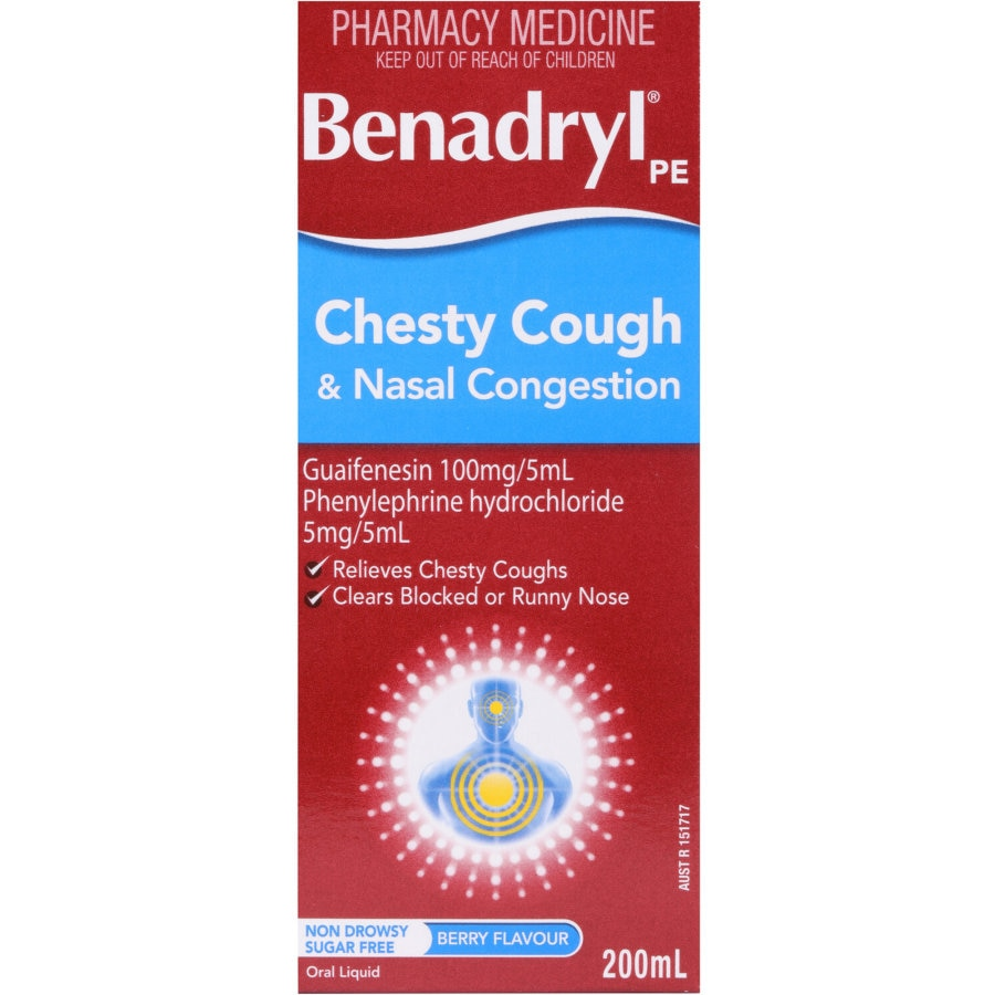 Benadryl PE Chesty Cough & Nasal Decongestant, 200ml