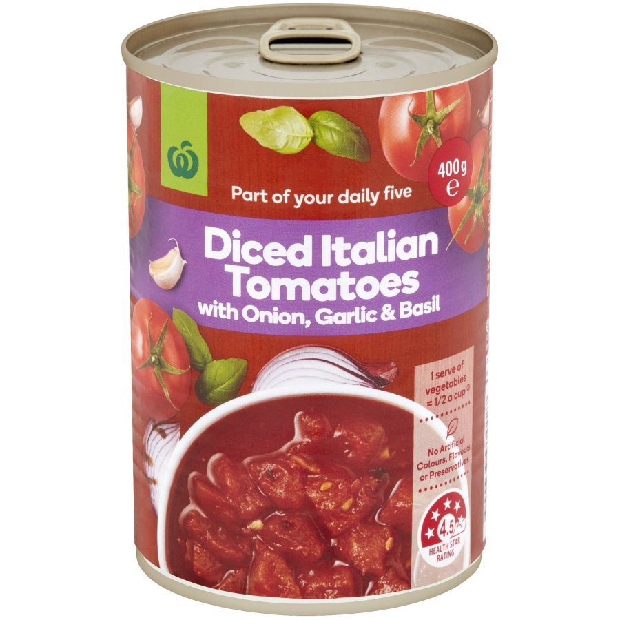 Countdown Tomatoes Diced Basil Garlic & Onion can 400g - buy online at countdown.co.nz