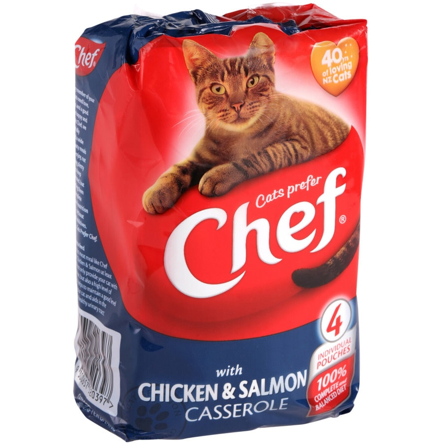 Chef Singles Cat Food Chicken & Salmon 100g pouch 4pk - buy online at countdown.co.nz