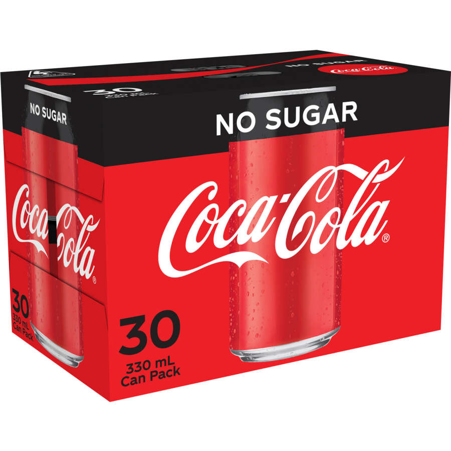 Coca Cola Soft Drink No Sugar 330ml cans 30pk - buy online at countdown.co.nz