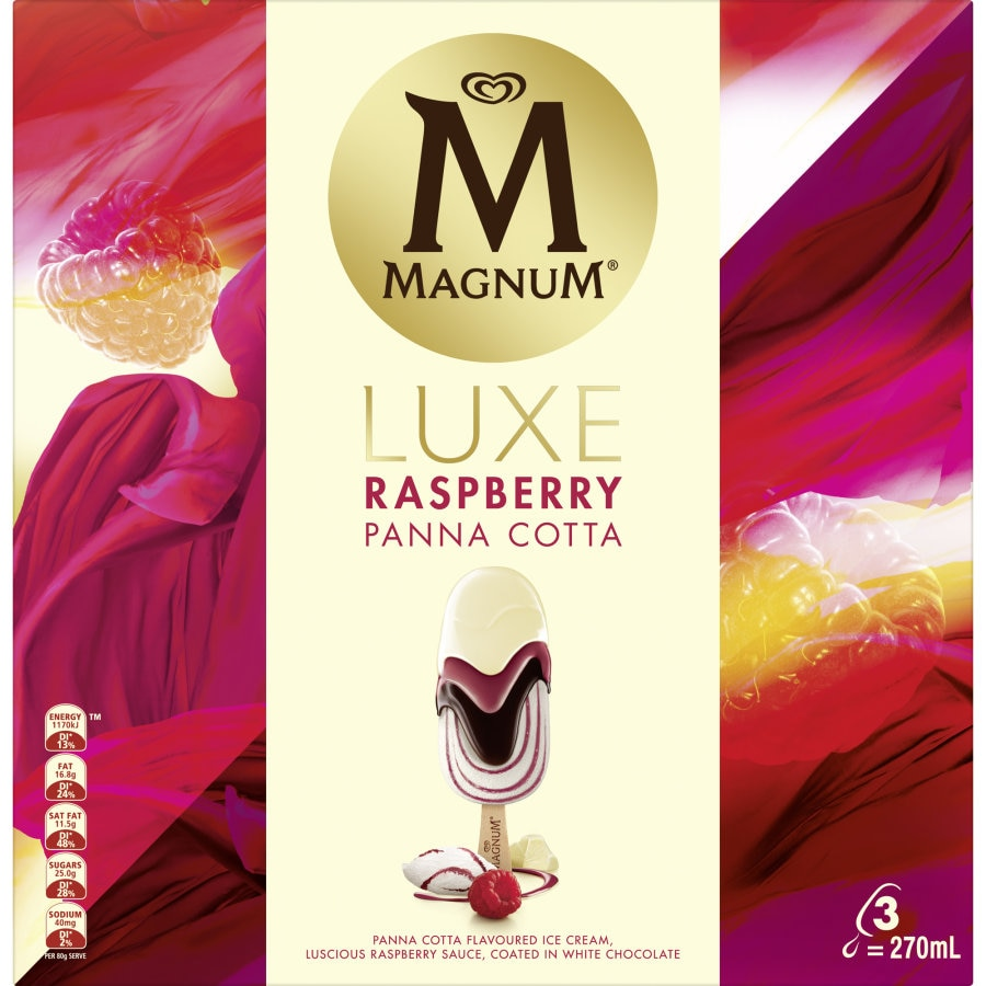 Streets Magnum Ice Cream On Stick Luxe Raspberry Panna Cotta 270ml - buy online at countdown.co.nz