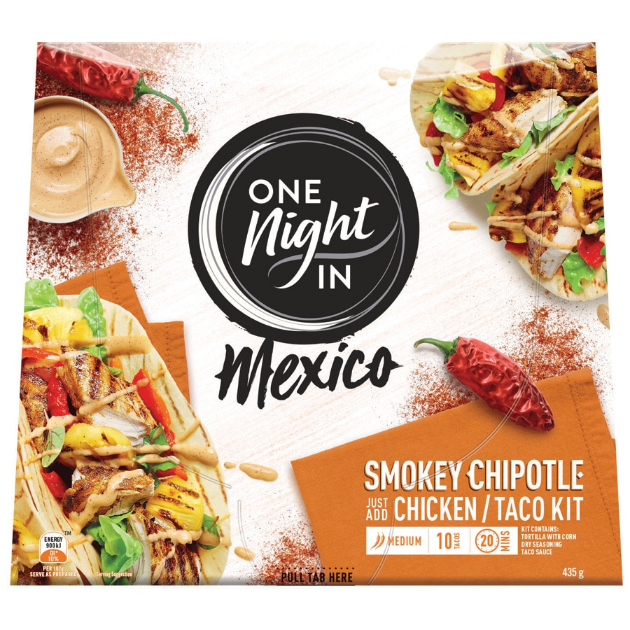 One Night In Mexico Mexican Chipotle Chicken Taco Kit 435g - buy online at countdown.co.nz