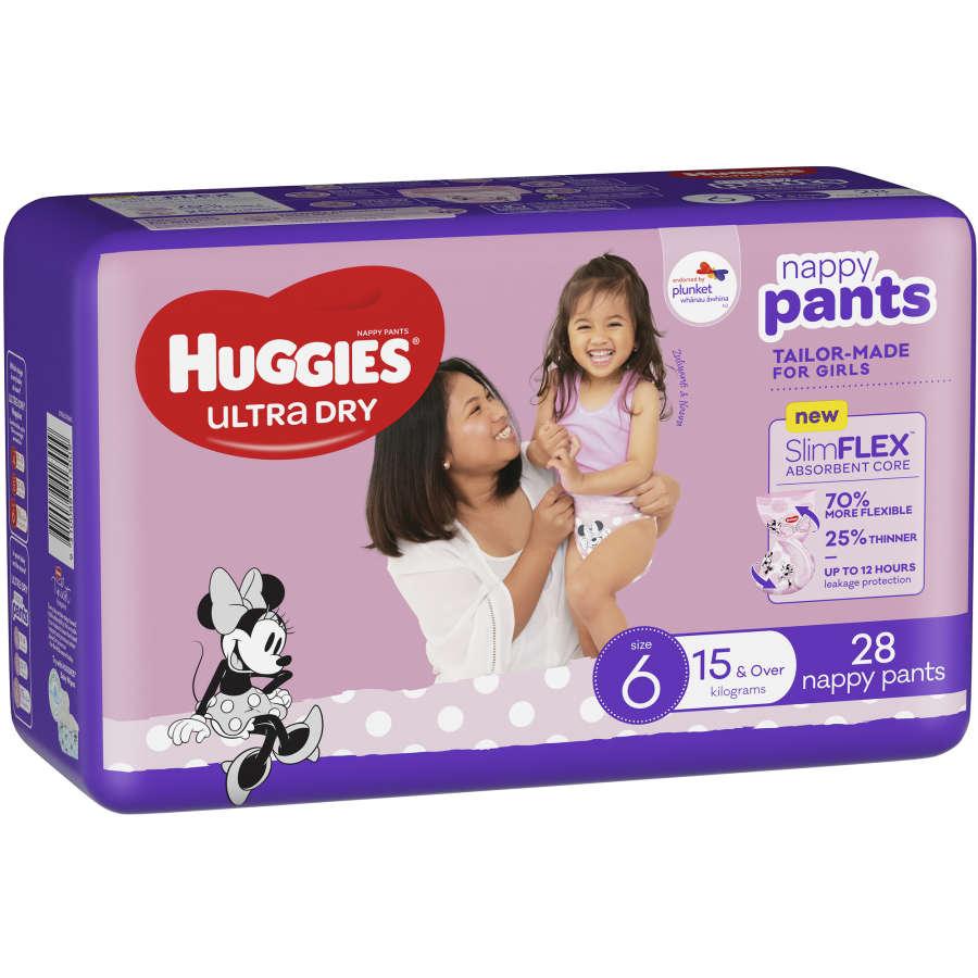 Huggies Ultra Dry Nappy Pants Junior Girl Size 6 bulk pack 28pk - buy online at countdown.co.nz