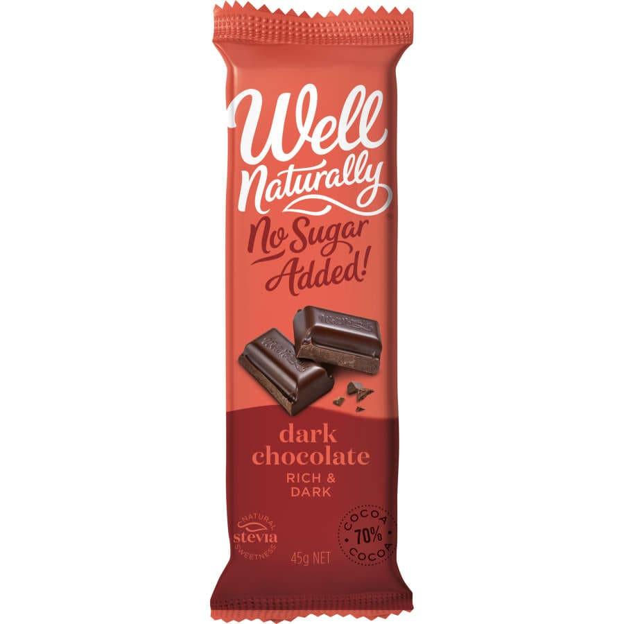 Well Naturally Chocolate Bar Dark Chocolate Sugar Free 45g - buy online at countdown.co.nz