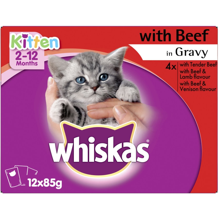 Whiskas Kitten Food With Beef In Gravy 85g pouches 12pk - buy online at countdown.co.nz