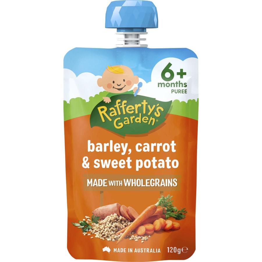 Raffertys Garden Wholegrain Baby Food Barley, Carrot, Sweet Potato 6 months + 120g - buy online at countdown.co.nz