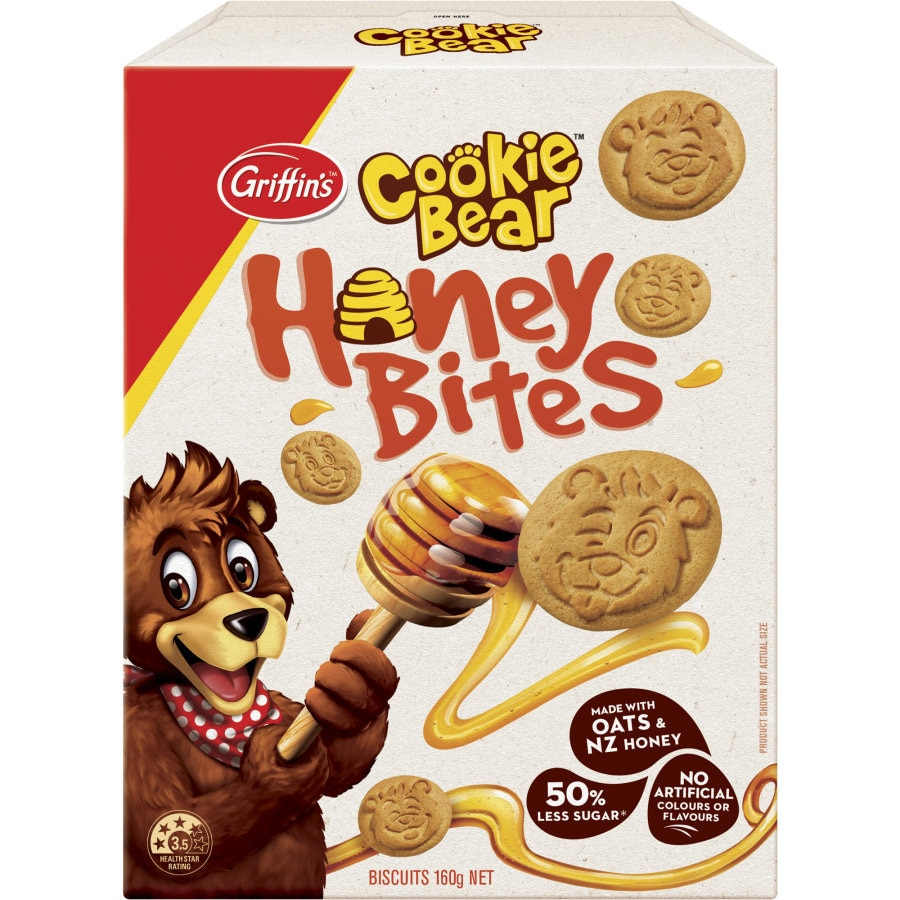Griffins Cookie Bear Biscuits Honey Bites 160g - buy online at countdown.co.nz