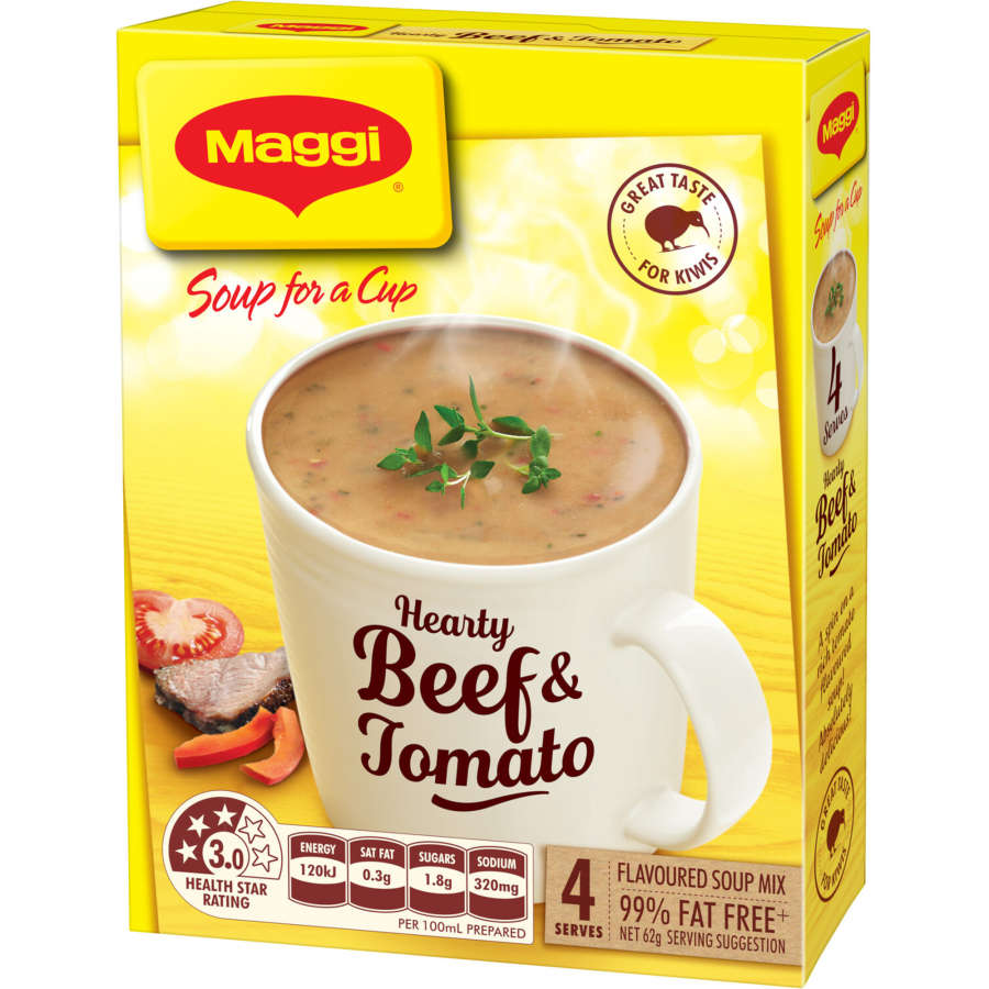 Maggi Soup For A Cup Instant Soup Hearty Beef & Tomato 62g 4 serve - buy online at countdown.co.nz