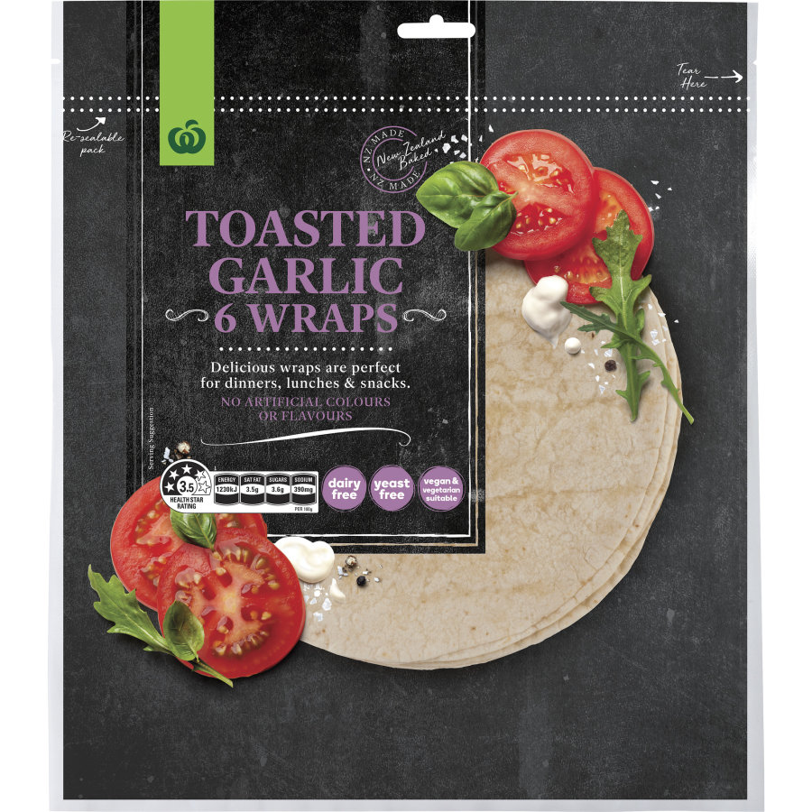 Countdown Wraps Garlic 6pk - buy online at countdown.co.nz