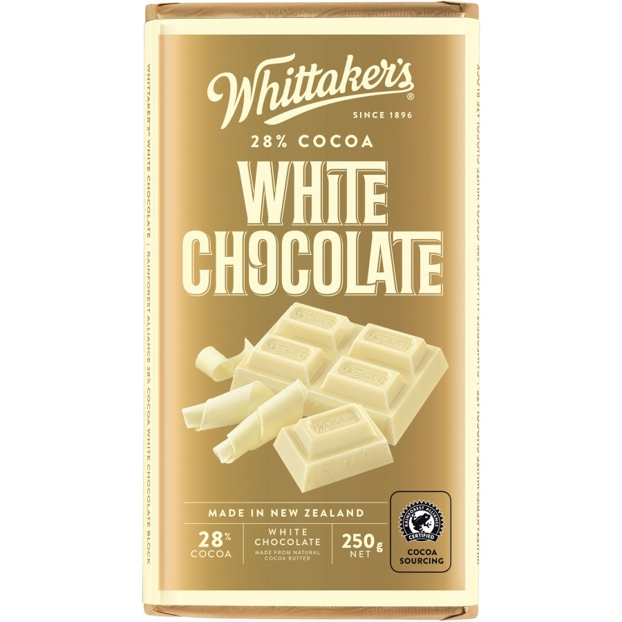 Whittakers Chocolate Block 28% Cocoa White 250g - buy online at countdown.co.nz