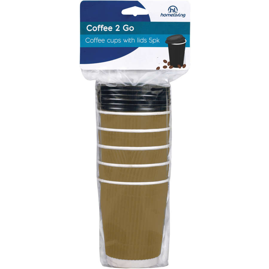 Home Living Cups Coffee With Lids 5pk - buy online at countdown.co.nz