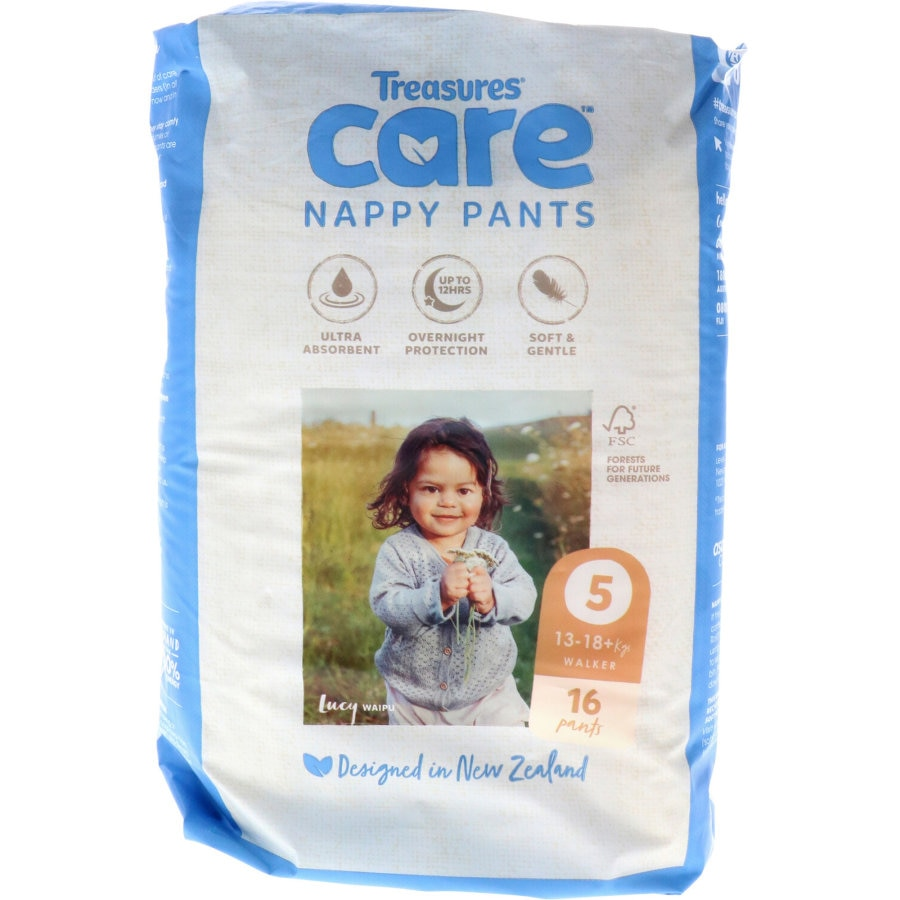Treasures Care Nappy Pants Size 5 Walker 13-18kg 16pk - buy online at countdown.co.nz