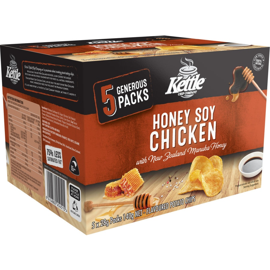 Kettle Chip Company Potato Chips Honey Soy Chicken 140g multipack 5pk - buy online at countdown.co.nz