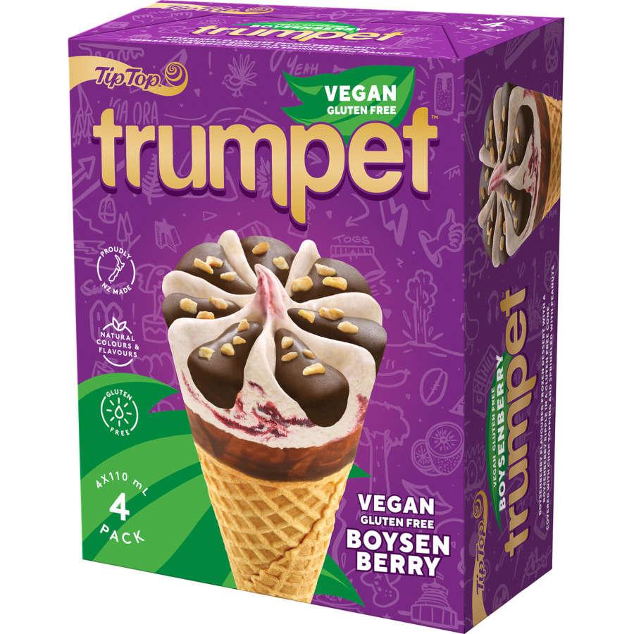 Tip Top Trumpet Ice Cream On Cone Vegan Boysenberry 440ml 4pk - buy online at countdown.co.nz