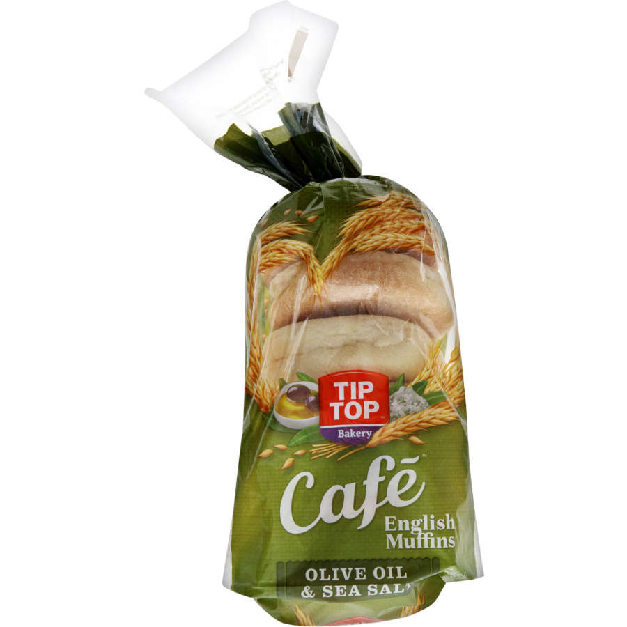 Tip Top English Muffins Olive Oil & Sea Salt 6pk - buy online at countdown.co.nz
