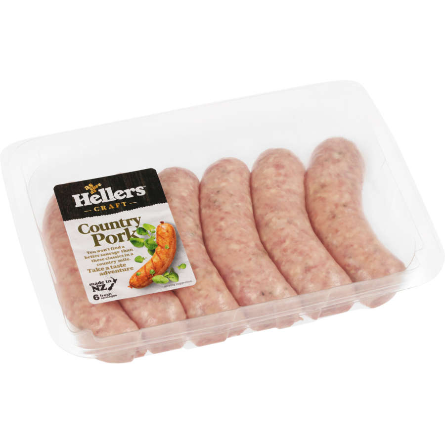 Hellers Sausages Country Pork 480g 6pk - buy online at countdown.co.nz