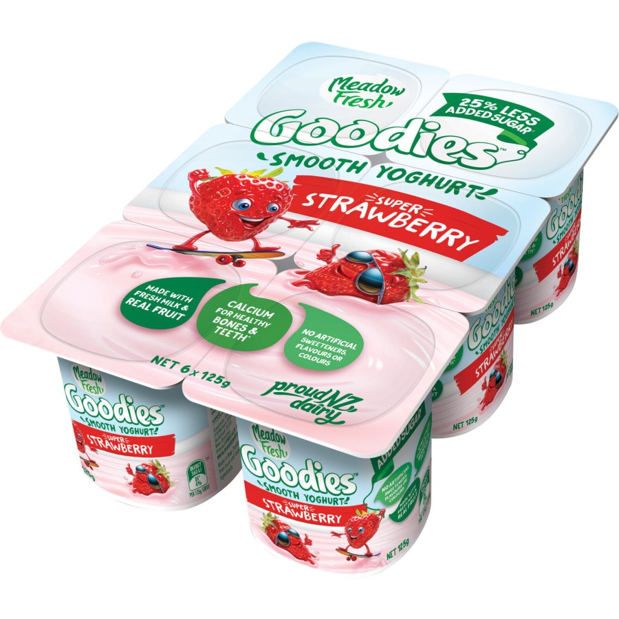 Meadow Fresh Goodies Yoghurt 6pk Super Strawberry 125g pottles 750g - buy online at countdown.co.nz