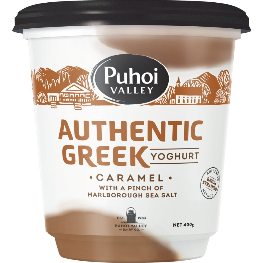 Puhoi Valley Authentic Greek Yoghurt Tub Salted Caramel 400g - buy online at countdown.co.nz
