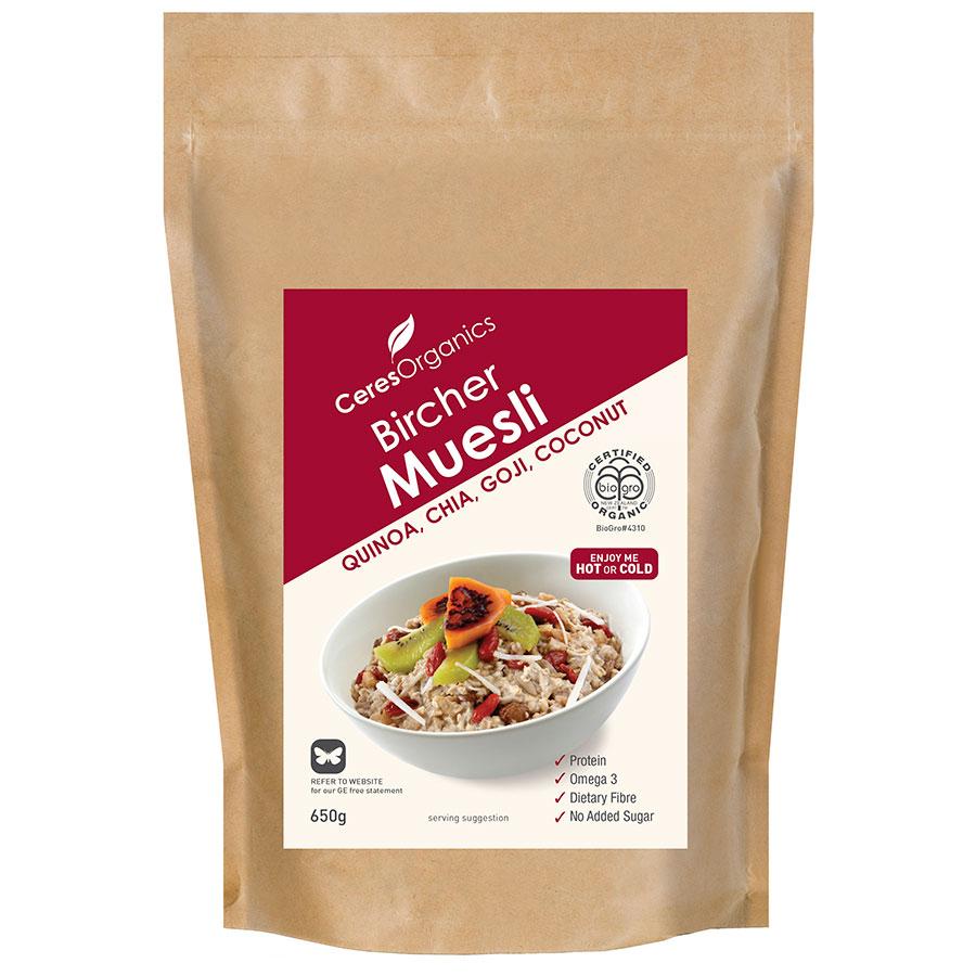 Ceres Organics Bircher Muesli Quinoa Chia Goji 650g - buy online at countdown.co.nz