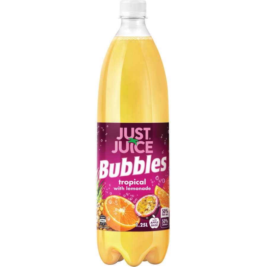 Just Juice Bubbles Soft Drink Tropical With Lemonade 1.25l - buy online at countdown.co.nz