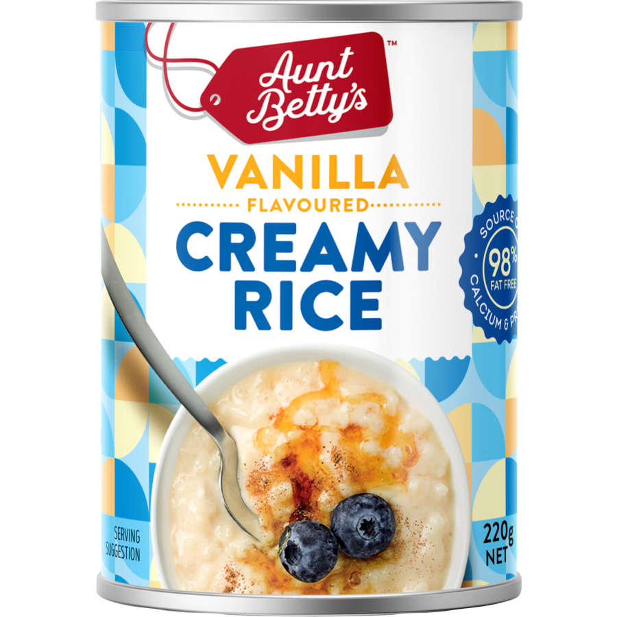 Aunt Bettys Rice 2 Go Creamed Rice Vanilla Creamy Rice 220g - buy online at countdown.co.nz