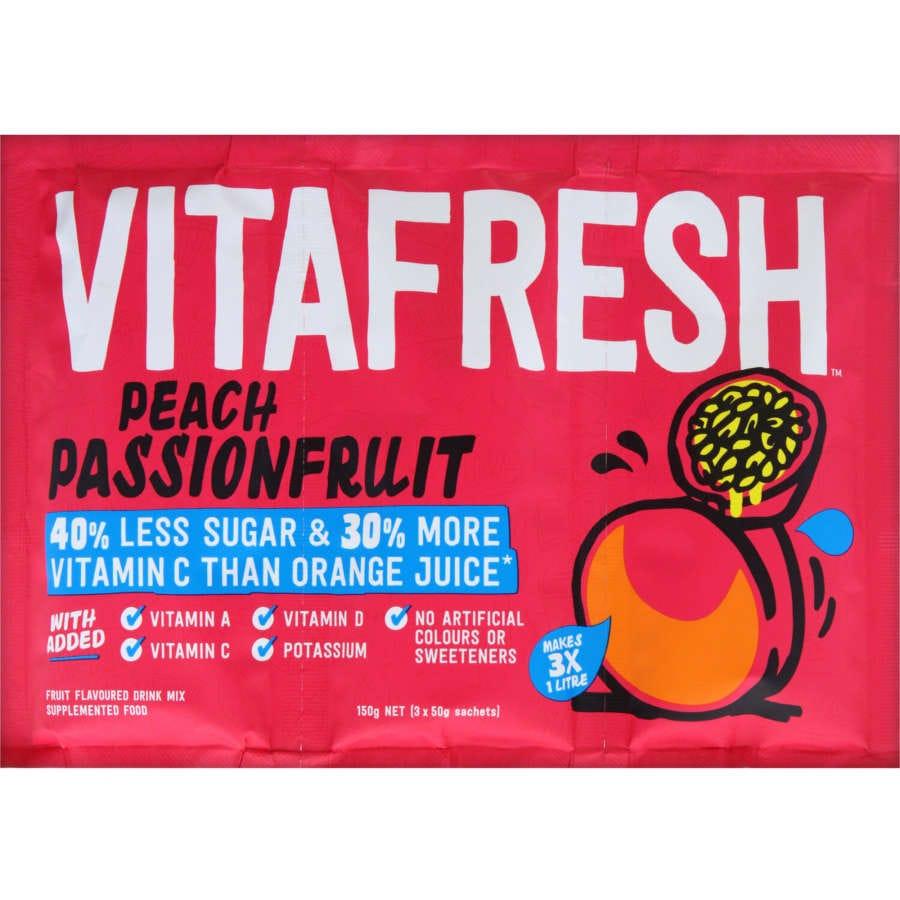 Vitafresh Sachet Drink Mix White Peach Passionfruit 150g 3pk - buy online at countdown.co.nz