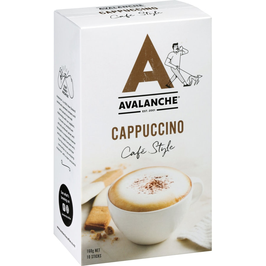 Avalanche Coffee Mix Cappuccino 160g box 10 sachets - buy online at countdown.co.nz