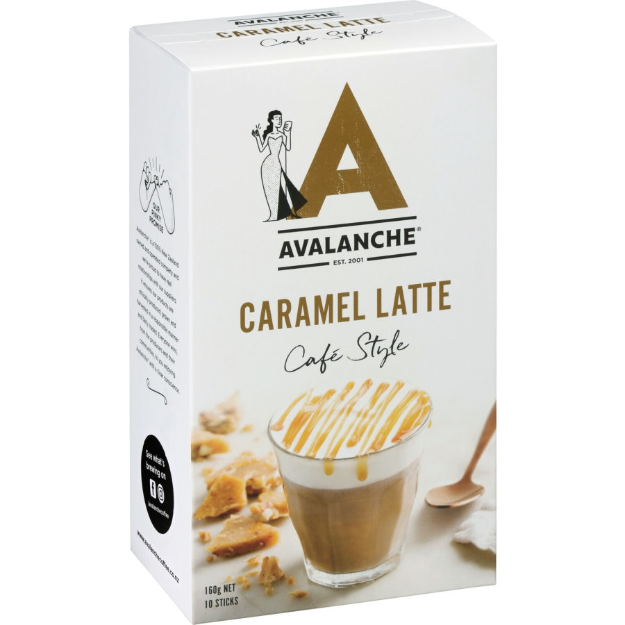 Avalanche Coffee Mix Caramel Latte 160g box 10 sachets - buy online at countdown.co.nz