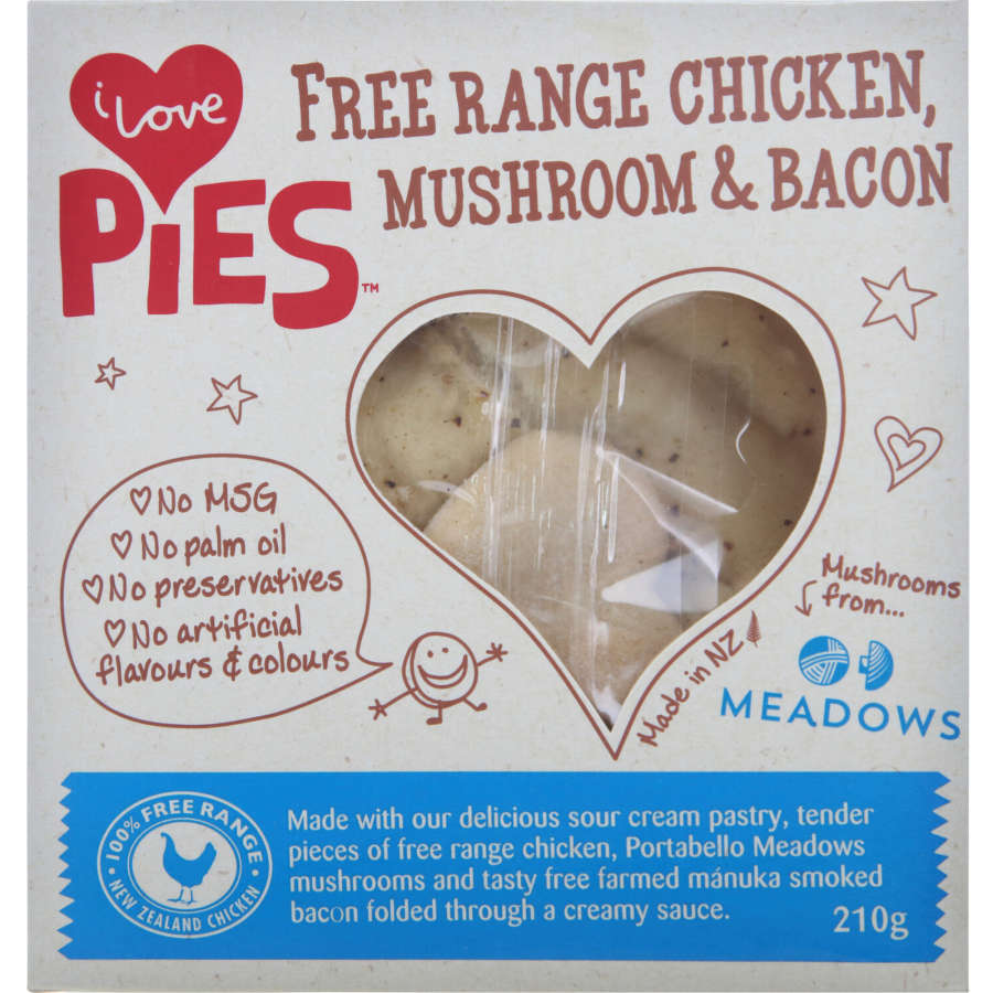 I Love Pies Chilled Single Pie Chicken, Bacon & Mushroom 210g - buy online at countdown.co.nz